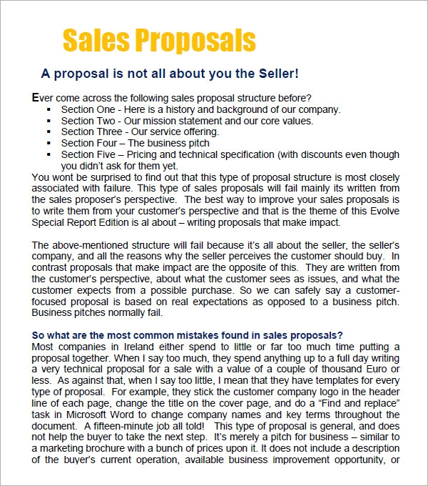 Cover Letter For Sales Proposal