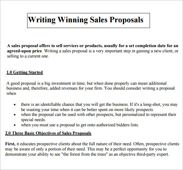 sales proposal templates free pdfdoc sample templates