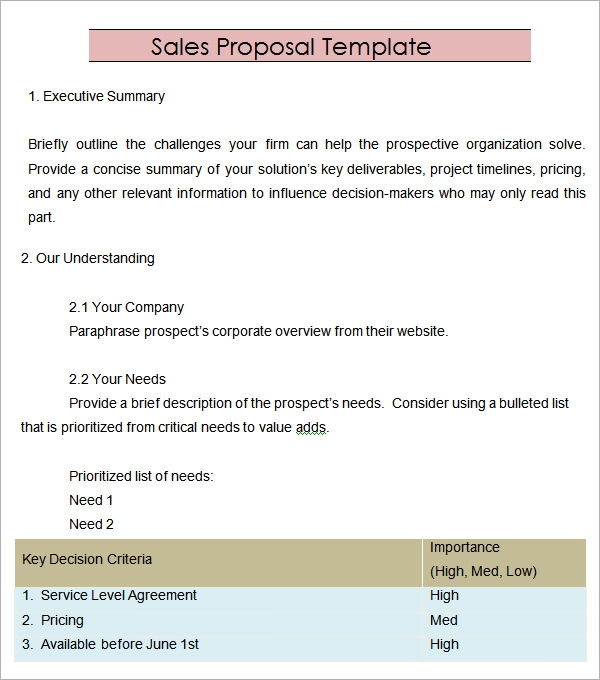 Sales Proposal Template 20 Download Free Documents in PDF Word