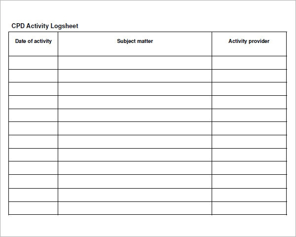 Log Sheet Template   Download Free Documents In Pdf Word Excel