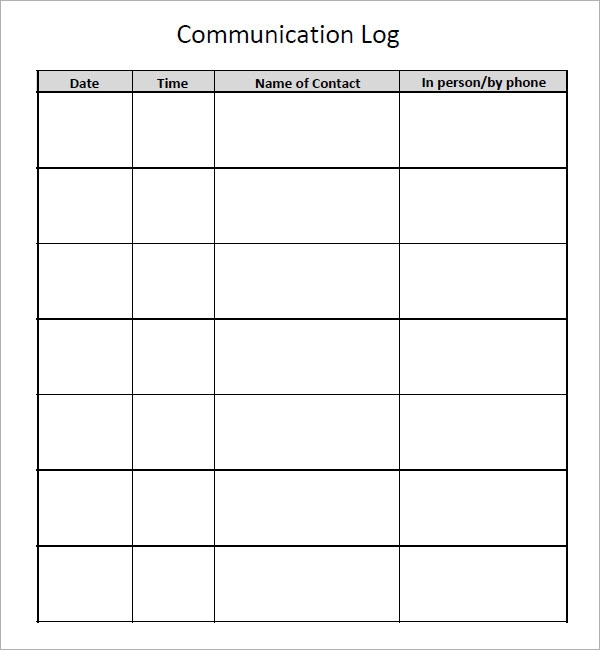 Home School Communication Book Template Communication Log