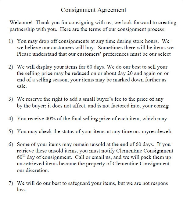 18 Sample Consignment Agreement Templates Word Pdf