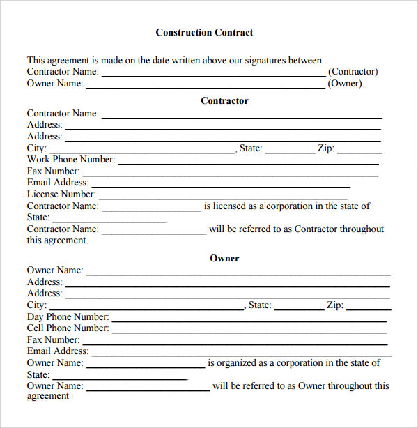 Sample Contractual Agreements Sample Templates - Construction contract template doc