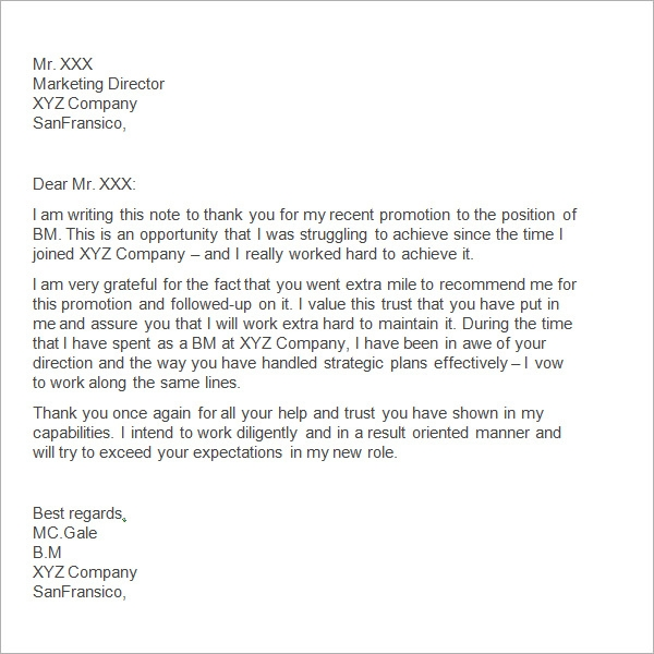 Sample Thank You Letter To Boss 11 Free Documents