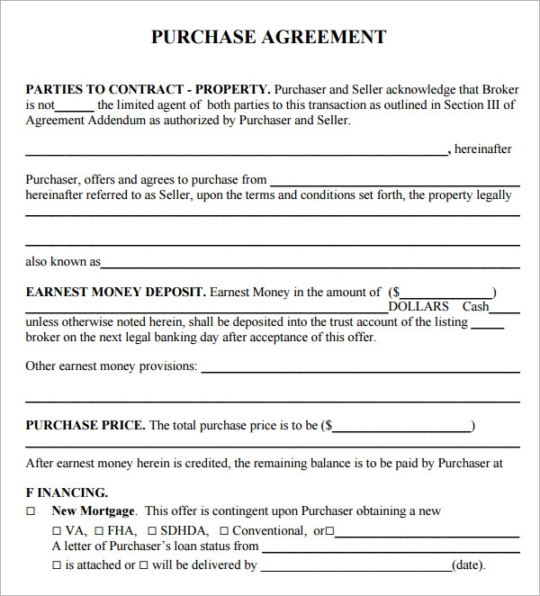 Purchase Agreement 8 Download Free Documents in PDF Word – Simple Sales Contract Form