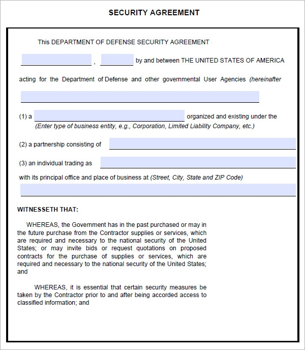Sample Commercial Security Agreement Template