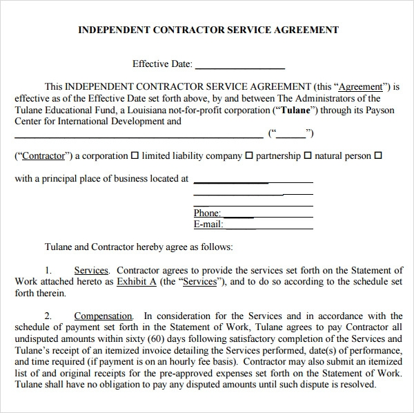 Service Agreement Template Pdf