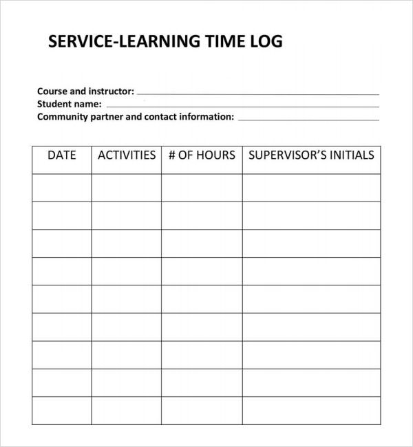 Service Learning Timelog Template