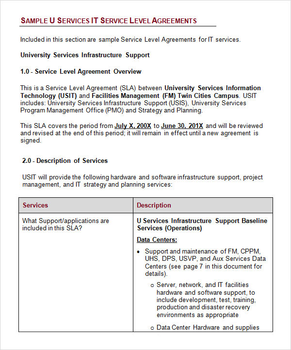 service level agreement template free download