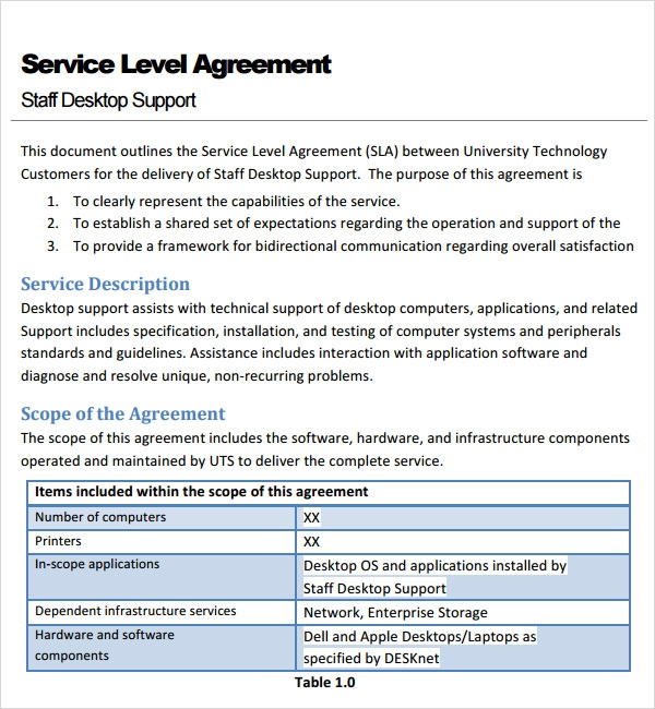 Service Contract Agreement Template, Service Level Agreement Template ...