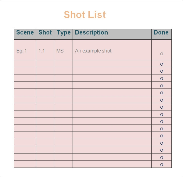 Shot List Template   10  Download Free Documents in Word PDF SvsbpScb