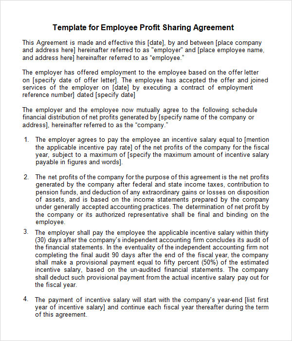 Sample profit sharing agreement 10 free documents in for Profit share agreement template