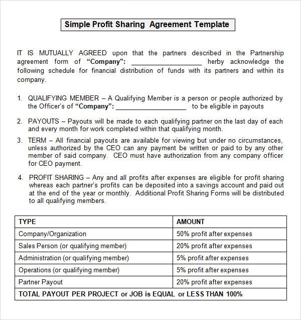 14 profit sharing agreement templates pdf doc sample templates. Black Bedroom Furniture Sets. Home Design Ideas