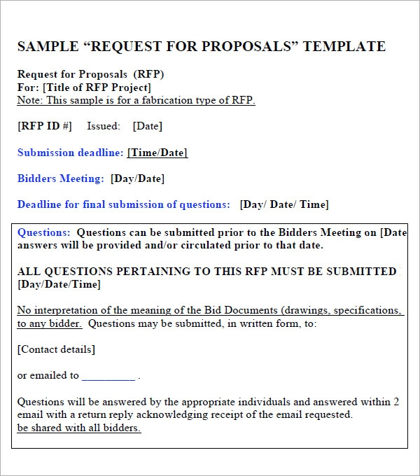Request For Proposal Template - 9+ Download Free Documents ...
