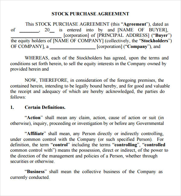 Stock Purchase Agreement 10 Download Documents in PDF – Sample Stock Purchase Agreement