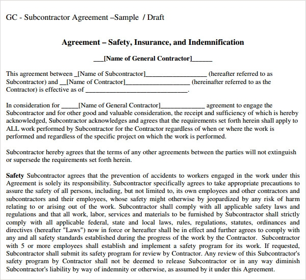 Doc460595 Subcontractor Agreements Subcontractor Agreement – Subcontractor Agreement Template