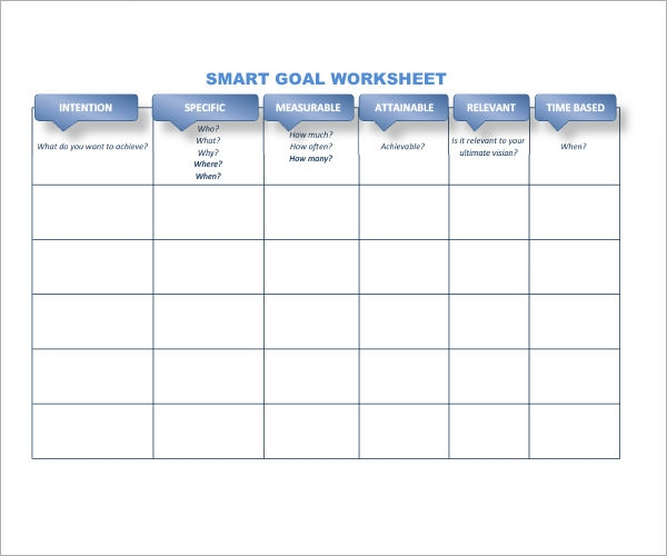 smarter goals worksheet