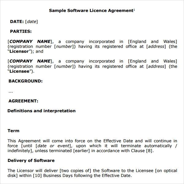 Software License Agreement 8 Free Pdf Doc Download