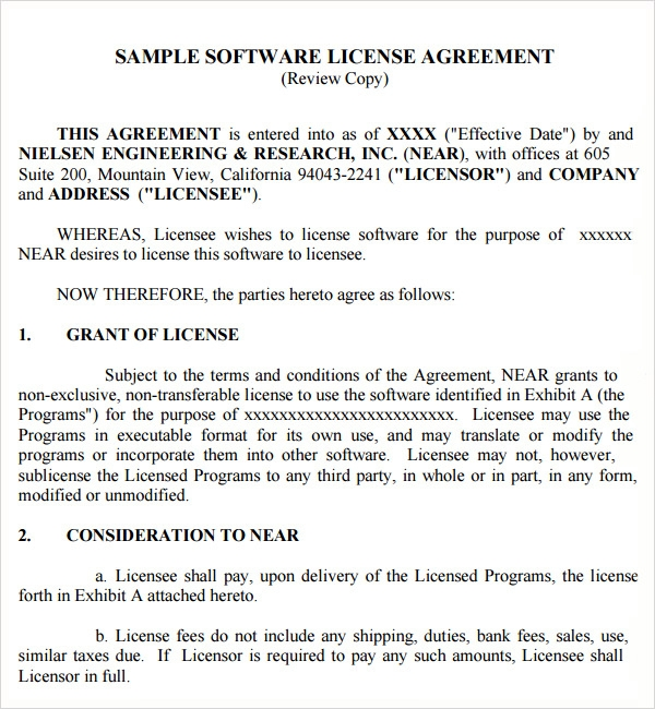 software license agreement form