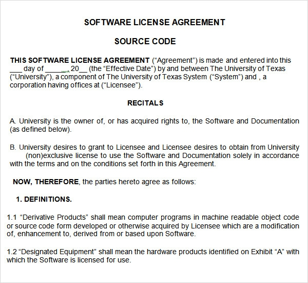 8 sample useful software license agreement templates for Intellectual property licence agreement template