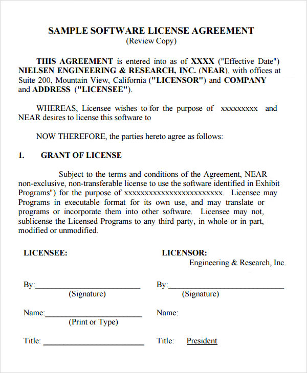 Sample License Agreement Template   Free Documents In Pdf Doc