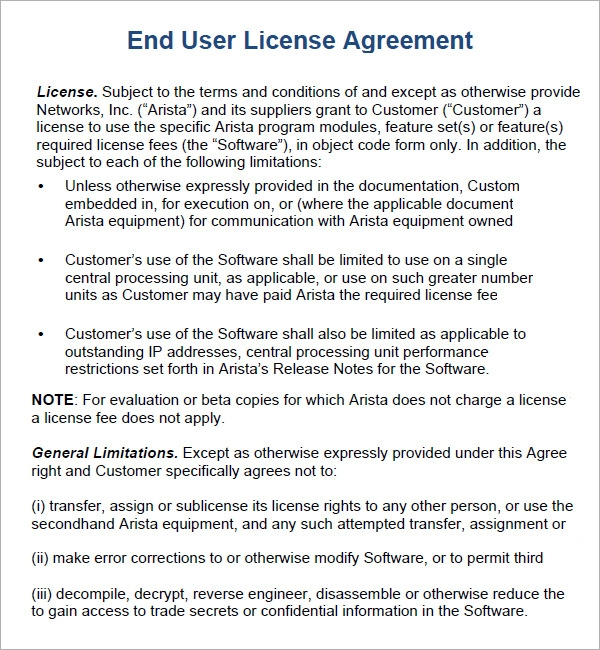 6 sample free end user license agreement templates for Product license agreement template