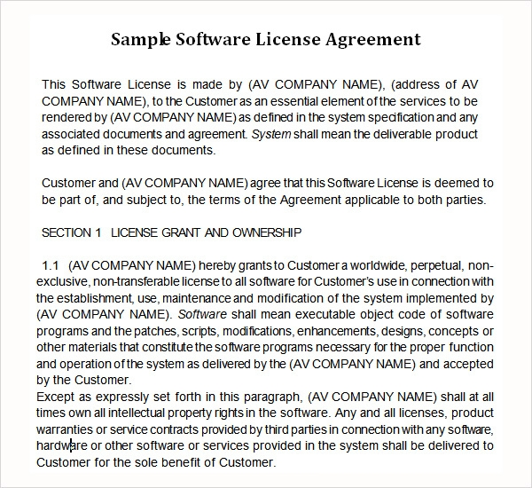 Sample Licensing Agreement Software License Agreement Template