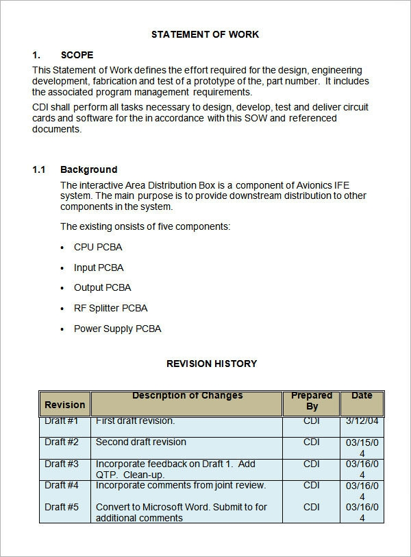Examples of Statements of Work Statement of Work Example