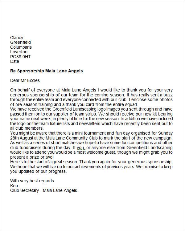 sponsor thank you letter sample templates
