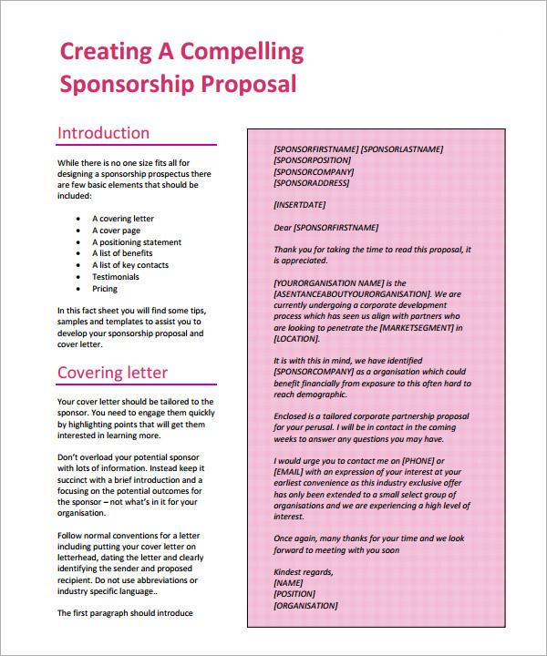 sponsorship proposal letter template – Sample Sponsorship Proposal Letter Template