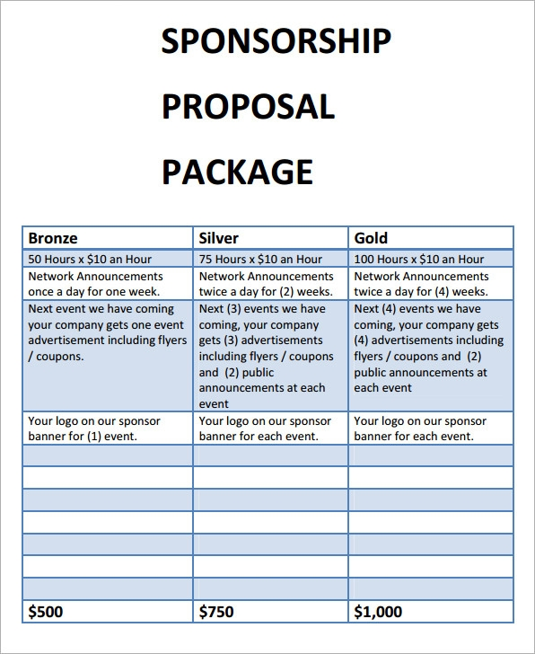 sponsorship proposal package