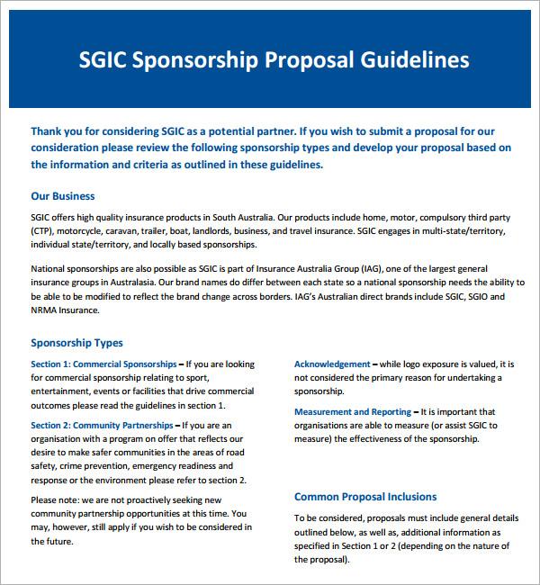 word 2007 sponsorship proposal