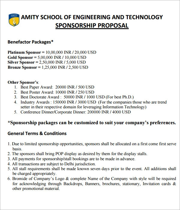 Doc600700 Sponsorship Proposal Template for Events Sample – Proposal for Sponsorship Template