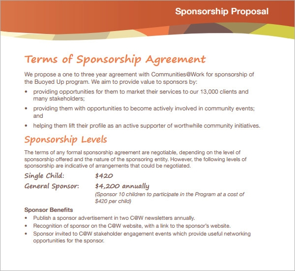sports team sponsorship proposal template - sample sponsorship proposal template 18 documents in
