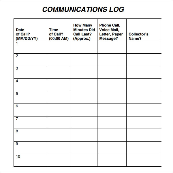 correspondence log template excel
