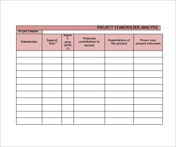 Stakeholder Analysis Sample 8 Documents in Word Excel PDF