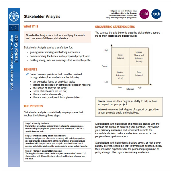 Stakeholder Analysis Template - 9+ Download Free Documents ...