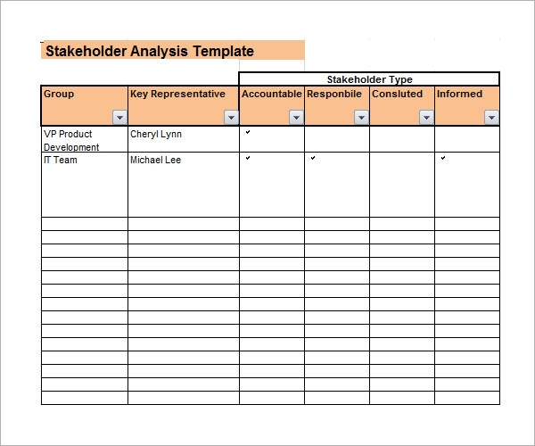Stakeholder Analysis Template 9 Download Free Documents