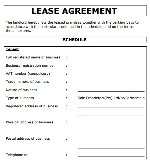 Lease Agreement Example  Commercial Rental Agreement Format