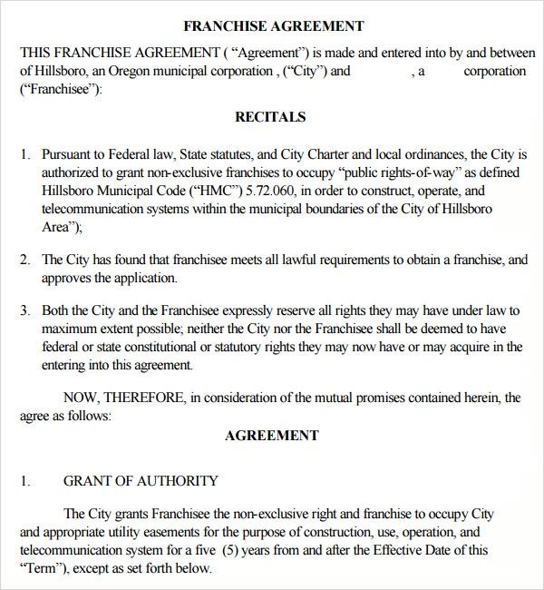 Sample Franchise Agreement 7 Documents in PDF Word – Franchise Agreement Template