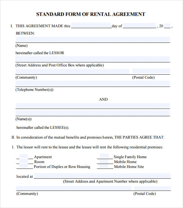 8 useful sample leasing agreement templates sample templates for Standard tenancy agreement template