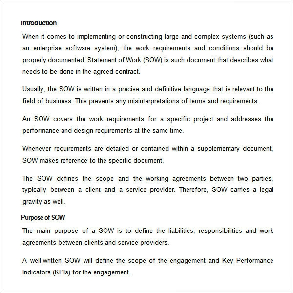 Sample Statement Of Work Template   Free Documents Download In