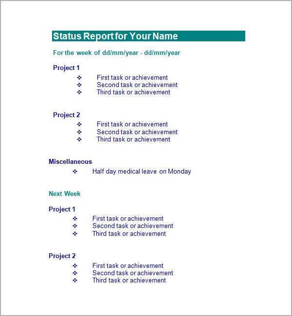 status report for your name