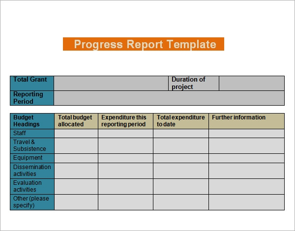 Progress Report Templates   Free Documents In Pdf Word