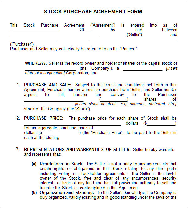 Stock Purchase Agreement   Download Documents In Pdf