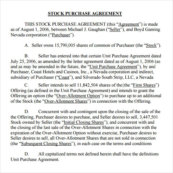 Stock Purchase Agreement 10 Download Documents in PDF – Stock Purchase Agreement