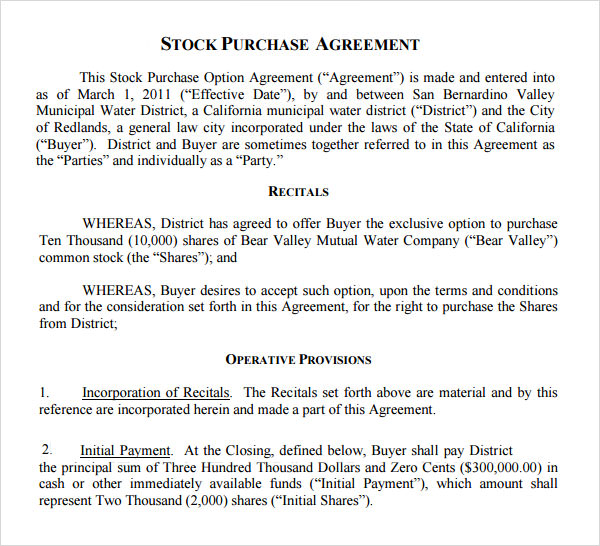 Stock Purchase Agreement 10 Download Documents in PDF – Stock Purchase Agreement Template