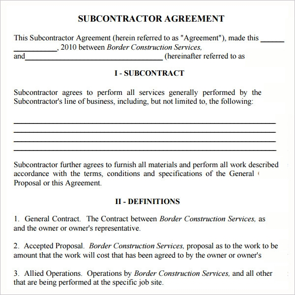 subcontractors agreement template - contract for subcontractors template 28 images