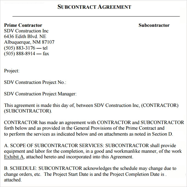 Sample Subcontractor Agreement 10 Free Documents Downlaod in – Simple Construction Contract Form