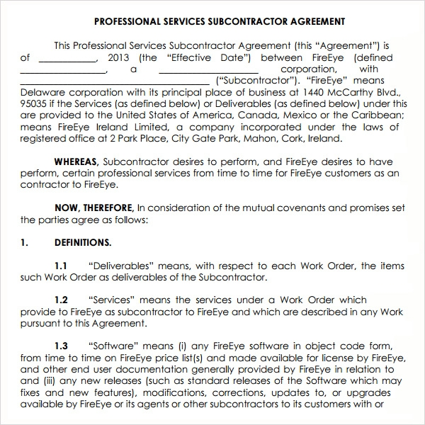 Subcontractor agreement 13 free pdf doc download for Subcontracting contract template